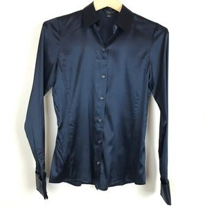 Ann Taylor Navy Blue Long Sleeve Silk Blouse Sz 0